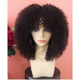 curly bang wig NZ - Stock fast shipping short Afro Kinky Curly synthetic Lace Front wig For africa Women Brazilian Lace Frontal Wig with bangs