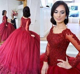 $enCountryForm.capitalKeyWord Australia - 2018 Burgundy Ball Gown Quinceanera Dresses Scoop Plus Size Sweet 16 Lace Applique Beaded Long Sleeves Puffy Button Back Evening Prom Gowns