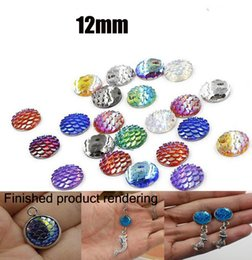 China 500Pcs Lot 12mm Round AB Bling Mermaid Fish Dragon Scale Style Beads Flat Back Resin strass Cabochons Button Craft DIY supplier flat backed resins suppliers