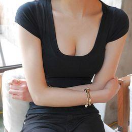 31f235a13a893 harajuku 2019 korean High Quality Sexy Low-cut women Short-sleeved t shirt  Female women top Slim Elastic Basic crop Tops Cotton
