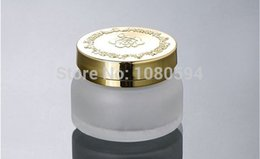 Discount gold cream jars - 50G Frosted white glass cream jar with Gold flower lid,Cosmetic Glass Container,Cream Jar