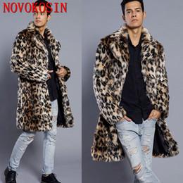 Discount plush suit - SC192 S-3XL Winter Warm Plus Size Open Stitch Leopard Plush Coat 2018 Men Faux Fur Suit Neck Cardigan Thick Long Fur Tre