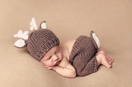$enCountryForm.capitalKeyWord Australia - Baby Photo Prop Handmade Crochet Knitted Baby Hat Pants Set Newborn Baby Photography Props 0-4 Months Christmas Deer