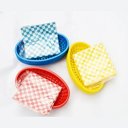 Discount french dishes - oval plate French Fries Hamburger Fast Food Tray Oval Dinner Basket set 6pcs Dishes and Plates Sets 24pcs Wax Paper Plas