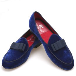 $enCountryForm.capitalKeyWord UK - Royal blue velvet Handmade men shoes with navy Bowtie Fashion Prom and Wedding men dress loafers Plus size male's flat