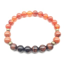Discount red carnelian jewelry SN1345 Fashion Design Carnelian Bracelet Trendy Natural Red Tiger Eye Stone Mala Yoga Bracelet Balance Meditative Jewelr