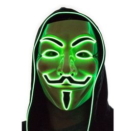 V Vendetta Cosplay UK - Hot Light Up LED Mask V for Vendetta Anonymous Guy Fawkes Costume Cosplay Cool Free Shipping