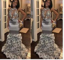 $enCountryForm.capitalKeyWord Australia - 2018 New Modern Black Girls Prom Dresses Mermaid Sexy Backless Ruffles Flowers Long Evening Gowns Red Carpet Dress