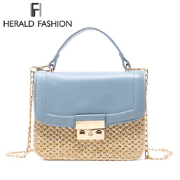 Chain Strap Messenger Bag Canada - Herald Fashion Knitted Hasp Top-handle Bags Women Weave Pattern Flap Bag Chain Strap Female Shoulder Bag Lady's Messenger