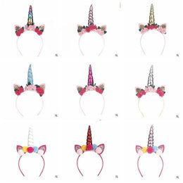 Discount black hair blue - Unicorn Headband Girls Kids Flowers Ball Glitter Metallic DIY Felt Unicorn Horn Headband Girls Party Hair Accessories 12