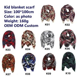 Wholesale 10 tyles Kids Plaid Blanket Scarves Tartan lattice Tassels Scarf Fashion Warm Neckerchief Autumn Winter Baby Scarf Shawl