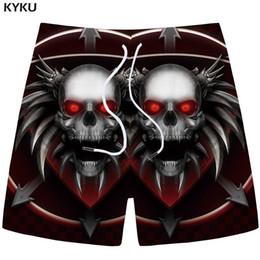 $enCountryForm.capitalKeyWord Canada - KYKU Brand Skull Shorts Men Black Metal Cargo Shorts Beach 3d Printed Anime Casual Fitness Mens Short Pants Summer 2018