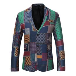 $enCountryForm.capitalKeyWord Australia - Stitching Pattern Printing Two Buckle National Wind Suit Brand Men Clothes 2018 Blazer Male Fashion Casual Men's Suit Coat XW12