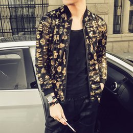 80f6f40aefb Stylish Print Jacket Men Fashion 2018 Summer New Slim Fit Thin Bomber  Jackets Long Sleeve Night Club Gold Singer Costume 5XL-M