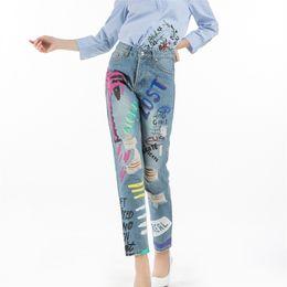 419b91e9a70f Discount painted jeans women - 2017 Retro Painted Graffiti Hole Fringe  Ripped Women Blue Denim Pencil