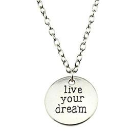 $enCountryForm.capitalKeyWord Australia - WYSIWYG 5 Pieces Metal Chain Necklaces Pendants Male Necklace Fashion Live Your Dream 20mm N2-B10382