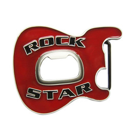Discount belt buckle bottle opener New Vintage Red Enamel Rock Music Star Guitar Belt Buckle With Beer Bottle Opener BUCKLE-MU102RD