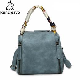 Soft Silk Scarf blue online shopping - 2018 Crossbody Bags For Women Leather Handbag Luxury Handbags Women Bags Designer Silk Scarf Shoulder Tote Bucket Bag Sac A Main