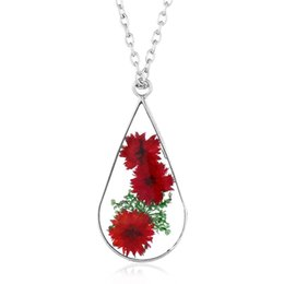 Flower Chain For Decoration UK - LIEBE ENGEL Vintage Style Colorful Natural Dried Flowers Decoration Pendent Necklace Alloy Sweet Style Resin Necklace For Girls