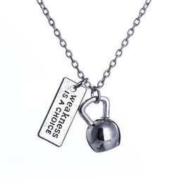 kettlebell pendant Australia - Fashion Parts 12pcs Strong Is Beautiful Weakness is a choice Weighted Kettlebell Charms Pendant Necklace Sporty Fitness Jewelry Wholesale