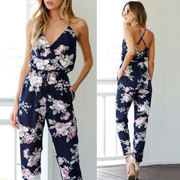 Women Fashion Jumpsuit Australia - Women Sleeveless V-Neck Floral Printed Playsuit Party Fashion Elegant Jumpsuits Women Party selastic waist rompers summer casual