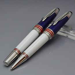 mb pen blue 2019 - Luxury John F. Kennedy carbon fibra Blue MB Rollerball pen with JFK carving logo school office supplies write brand Ball