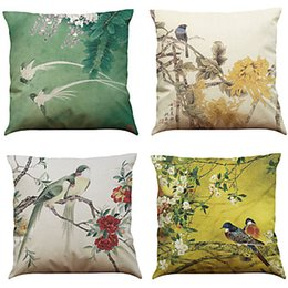 hospital chairs Canada - 4 pcs Cotton Linen Natural Organic Pillow Case Pillow Cover Home Decorative Chair Printed Square Cushion Cover