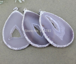 Geode Quartz Beads Australia - 5pcs Nature Slab Geode Quartz Stone Pendant beads with White Rhinestone For Jewelry Making