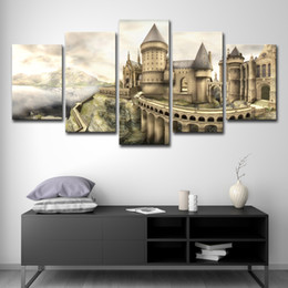 Discount harry potter art - Modern Canvas Wall Art Poster Home Decor Modular HD Printed Pictures 5 Pieces Harry Potter Hogwarts Castle Painting