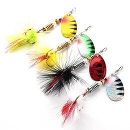 Fishing Lures Crankbait Hooks Wholesale NZ - Fishing Lures Wobbers Hand Spinner Shone Sequin Spoon Baits CrankBait For Fly Fishing Tackle With Feather Hooks Pesca