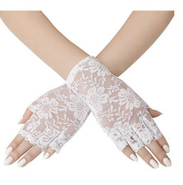 wedding mittens UK - Sexy Women Ladies Lace Gloves Summer Spring Black Fingerless Party Evening Gloves Mittens Jacquard Pattern Wedding Accessories Gift
