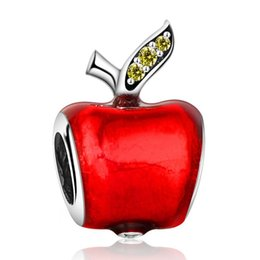 Glass apple charm online shopping - Snow White Apple Charms Beads Sterling Silver Jewelry Red Enamel Fairytale Bead DIY Brand Logo Bracelets Accessories HB574