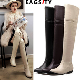 $enCountryForm.capitalKeyWord NZ - EAGSITY fashion Women knee length boots pointed toe slip on zip design ladies western boots Riding Equestrian snow
