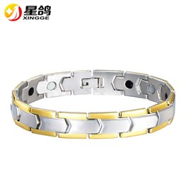 $enCountryForm.capitalKeyWord NZ - fashion man's 316l stainless steel bracelet silver tone stainless steel health power magnetic germanium bracelet for men wristband wholesale