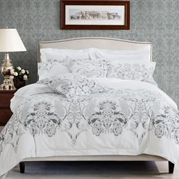 White Hotel Bedding NZ - Floral leaf print bed linen white color hotel bedding set twin queen king size bedclothes modern style duvet cover bed sheet set