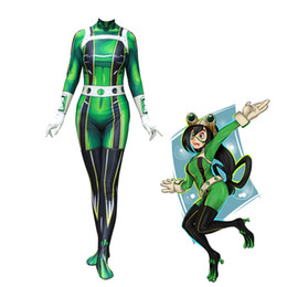 zentai hero cosplay 2019 - 3D Printed Boku no Hero Academia Froppy Cosplay Costumes Pro Hero Tsuyu Asui My Academia Zentai Suit, Only Bodysuit chea