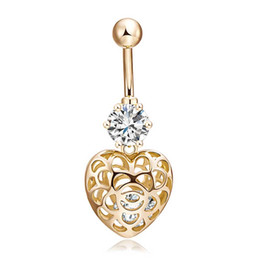 $enCountryForm.capitalKeyWord UK - Hollow Out Heart Navel Piercing Ombligo Ring Sexy Golden Belly Button Rings Summer Body Piercing Nombril Ball Pircing SL