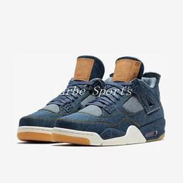 hot sale online c9fd4 69817 Mit Original Box 2018 Neue 4 Denim LS Jeans Travis All Black Basketball  Schuhe Herren 4s Blue Jeans Sneakers Größe 7-13