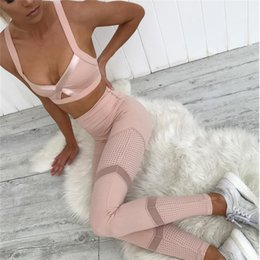 $enCountryForm.capitalKeyWord Australia - 2018 New 1 Set Womens Yoga Sets Pink Sports Crop Bra Running Pants Tights Leggings Tops Sport Suit Women Fitness Gym Clothing