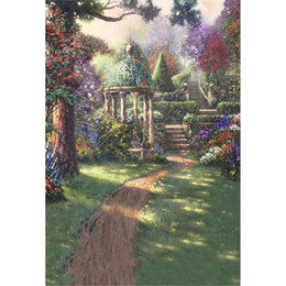$enCountryForm.capitalKeyWord Australia - Oil Painting Garden Scenic Backdrops for Photography Printed Trees Stairs Pavilion Children Girls Birthday Party Photo Backgrounds