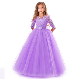Best girl wedding dresses online shopping - Best selling explosions girls bow tutu exclusive new flower girl wedding dress party piano performance princess dress