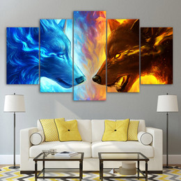 Modern Prints 5 Piece Fire And Ice Wolf Two Wolves Canvas Painting For Living Room Modular HD Wall Art Home Decor Picture Paint Oil