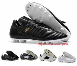 Ingrosso Mens Copa Mundial Leather FG Scarpe da calcio Sconto Soccer Cleats 2015 World Cup Scarpe da calcio Size 39-45 Black White Orange botines futbol