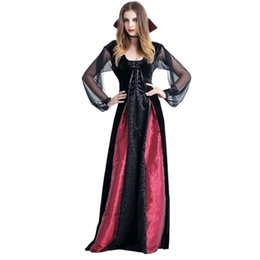 Discount sexy devil woman costume - Women Sexy Lace Dress Large Size Halloween Ghost Festival Devil Cosplay Plays Vampire Maxi Dress 2018 New Hot Sale