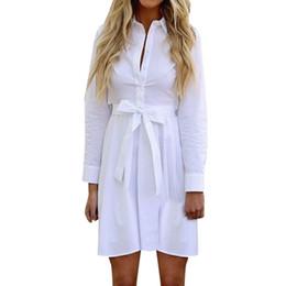 45f9de4f8 Senhora do escritório vestido de trabalho mulheres manga comprida elegante  lapela camisa branca vestidos de cinto botão de linho vestido  EP