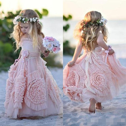 $enCountryForm.capitalKeyWord Australia - Cheap Pink Flower Girl Dresses Spaghetti Ruffles Hand made Flowers Lace Tutu 2019 Vintage Little Baby Gowns for Communion Boho Wedding