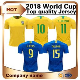 Chinese  10 Football Soccer Jersey 2018 World Cup Home Yellow 9 G.jesus 11 P.coutinho Shirt Away 15 for Paulinho Football Uniforms Sale manufacturers