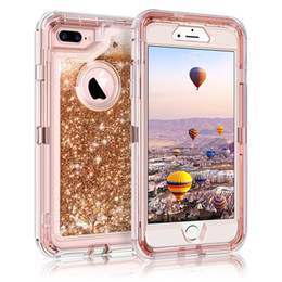 E66 iPhone 7 7 Plus Case Glitter 3D Bling Sparkle Flowing Liquid Quicksand  Case Transparent Shockproof Bumper Anti-Drop PC Frame + TPU Back 9907cda58b4c