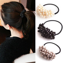 $enCountryForm.capitalKeyWord NZ - 1Pc Pearl Elastic Rubber Hair Ties Rings Hairdressing Tool Ropes Elastic Hair Ponytail Holder Hair Styling Accessories For Girl