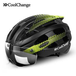 11bbfb58 Coolchange Cycling Helmet With Light Windproof Glasses Bike Helmet Mtb  Insect Net Integrally Molded Men Women Bicycle Helmet